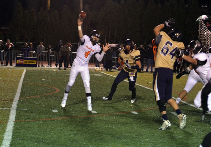 by: TIMES PHOTO: JEFF GOODMAN - Beaverton sophomore quarterback Sam Noyer went 18-29 for 202 yards in the Beavers second round playoff loss to Canby on Friday.