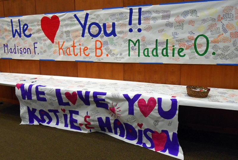 by: JILLIAN DALEY - Lake Oswego High students offer support to the teens injured in a crash last Friday.