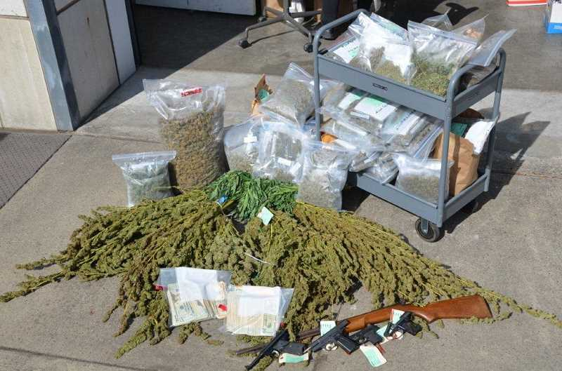 by: SUBMITTED PHOTO - Last week, the Tualatin City Council banned medical marijuana retail facilities, like The Human Collective, formerly of Tigard. Shown: Firearms and marijuana confiscated during the September 2012 raid of The Human Collective.