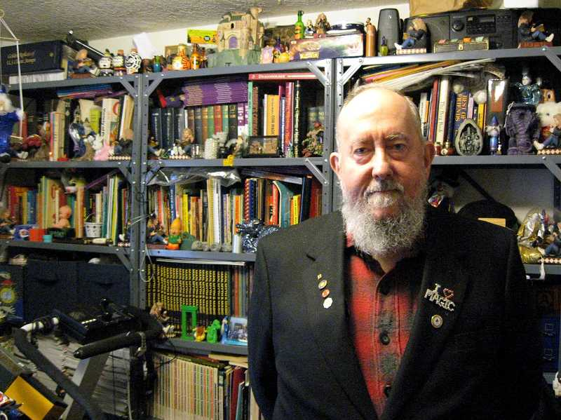 by: GAZETTE FILE PHOTO: RAY PITZ - Julian Thornton, shown here in his study jammed with magical gear, was recently honored by the Sherwood City Council for all his civic involvement over the years.