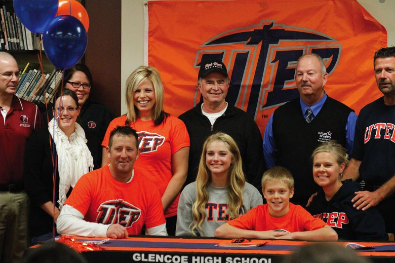 by: HILLSBORO TRIBUNE PHOTO: AMANDA MILES - Glencoe senior Courtney Clayton, the reigning Class 6A player of the year, signed a letter of intent last week to play Division I college softball at UTEP next year.