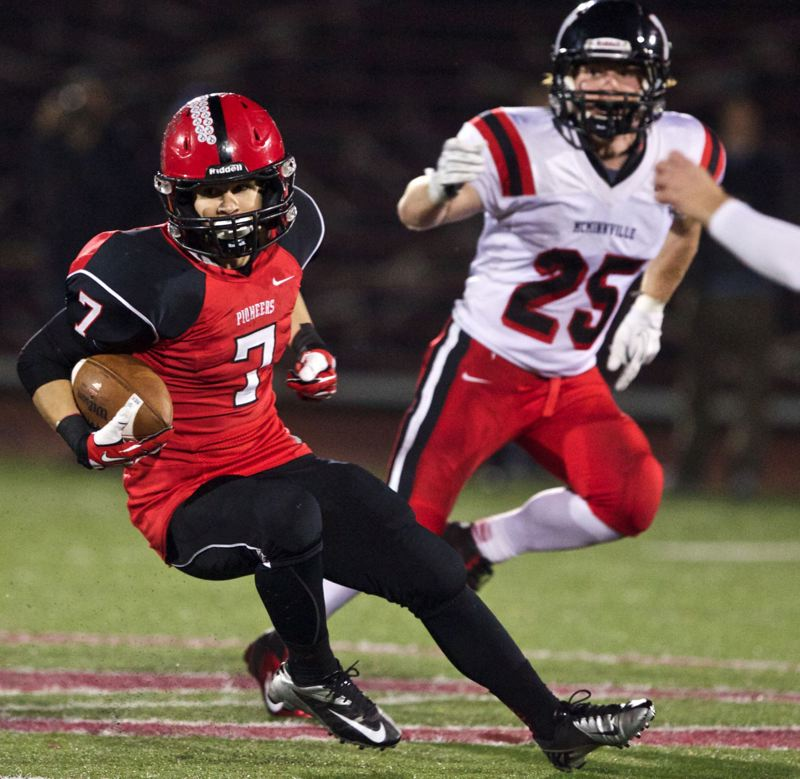 by: JAIME VALDEZ - With the return of star running back Conner Mitchell (7) and a host of experienced players, the Oregon City Pioneers expect to be a state power in football again next fall.