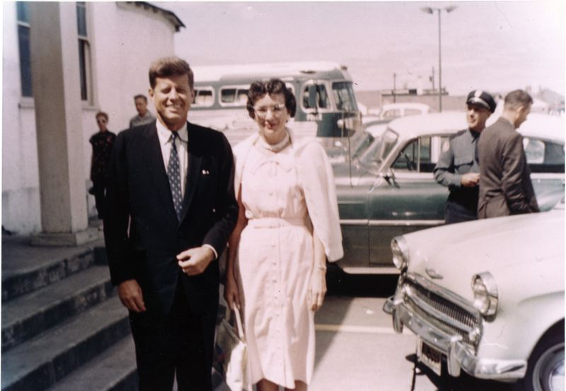 by: CONTRIBUTED PHOTO - In September 1960, Gresham resident Gary Knutsons mother, Marilyn, met then-Sen. John Kennedy at a butchers union convention in Seaside.
