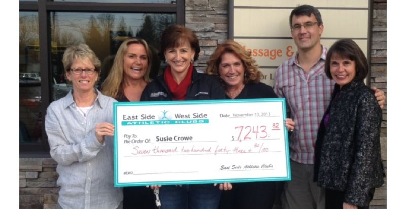 by: SUBMITTED PHOTO - From left, Terri Gilreath, an East Side Athletic Club owner; Annette Knoth, another club owner; Susie Crowe, recovering fitness professional; Sharon Ehlers, group fitness coordinator; Brian Eubanks, NorthLake Physical Therapy; and Jennifer Harding, an ESAC club owner.