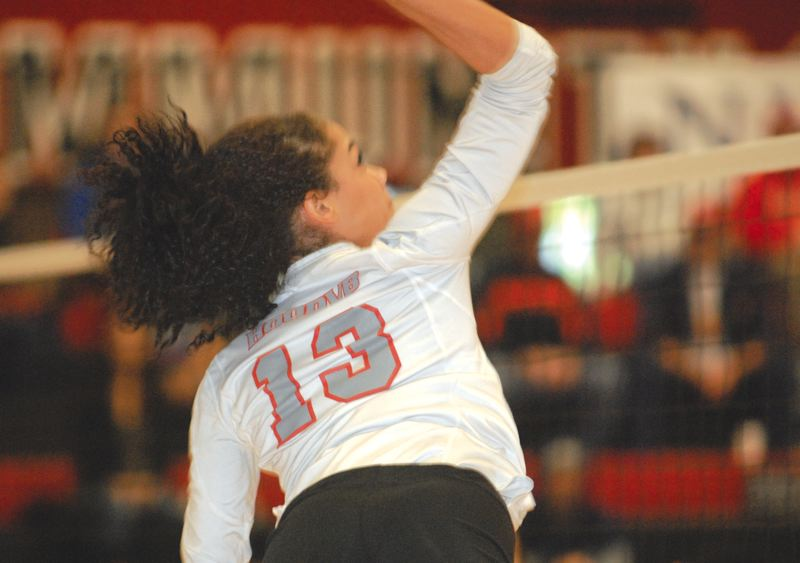 by: THE OUTLOOK: DAVID BALL - Mt. Hoods Xayna Robinson goes on the attack during Fridays second-round sweep over Lower Columbia.