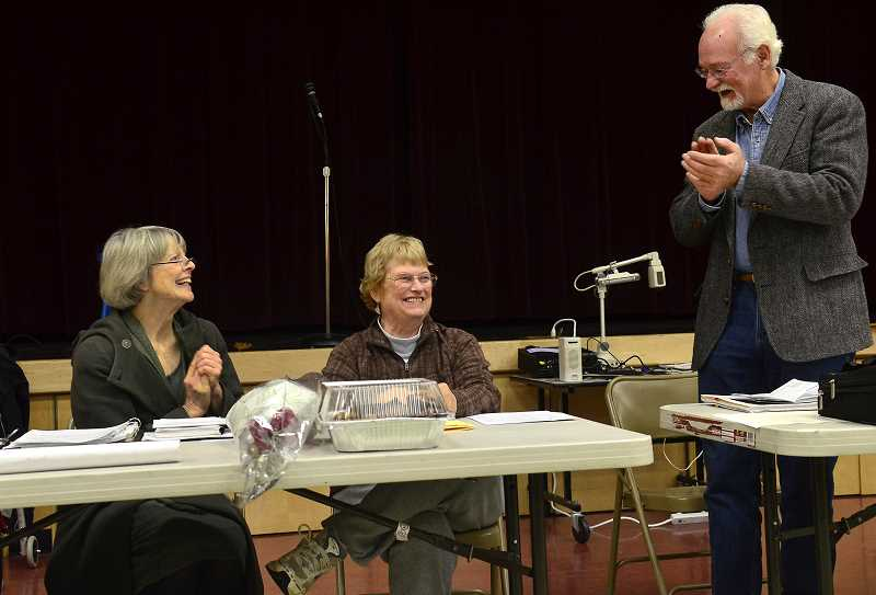 by: VERN UYETAKE - Stafford Hamlet board members Molly Ellis, left, and Mike Miller, far right, honor Sally Quimby, center, on Sally Quimby Day at the hamlet board meeting Nov. 18.