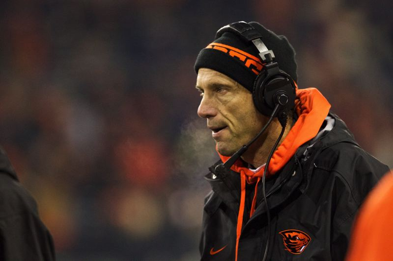 by: TRIBUNE PHOTO: JAIME VALDEZ - Oregon State coach Mike Riley watches the second half, and the score, get away even more from the Beavers last Saturday, when OSU fell 69-27 at home to the Washington Huskies.