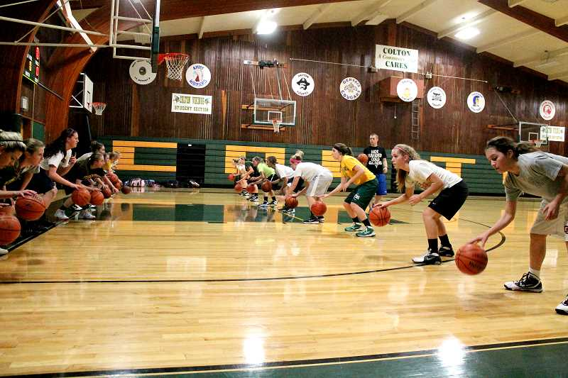 by: CORY MIMMS - Colton's girls basketball team practicing for what could be a good season ahead.