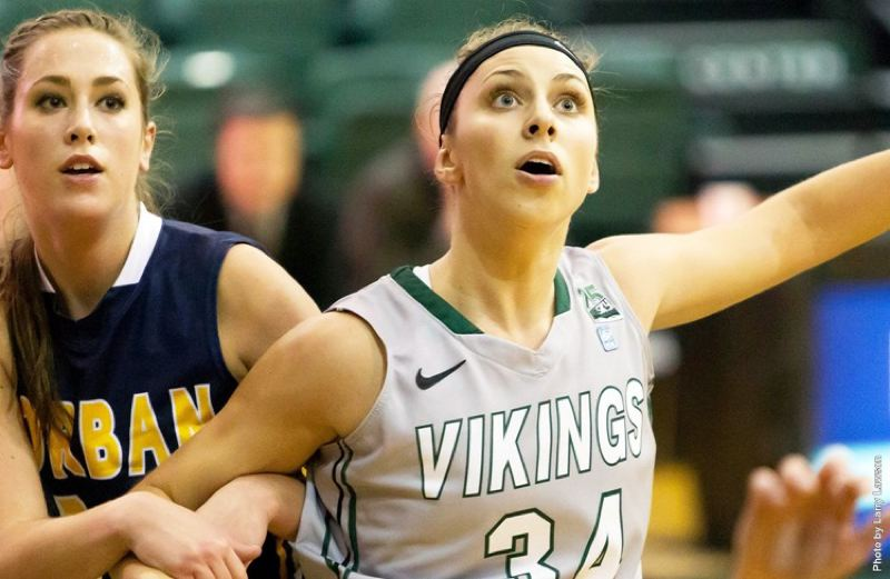 by: COURTESY OF PORTLAND STATE UNIVERSITY - Allie Brock (right) leads Portland State over Corban on Tuesday, making 8 of 16 shots from the field and scoring a game-high 23 points.
