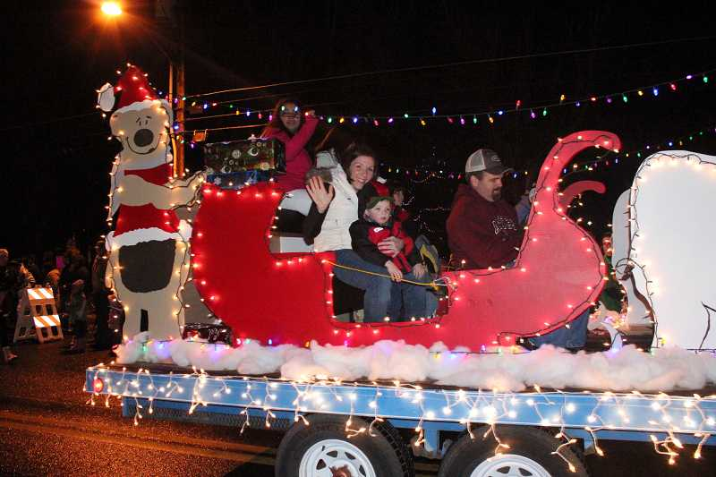 One of the lighted floats from last year's Christmas parade.