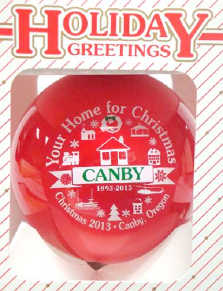 by: SUBMITTED PHOTO - The Canby Area Chamber of Commerce Christmas ornament is now available locally.