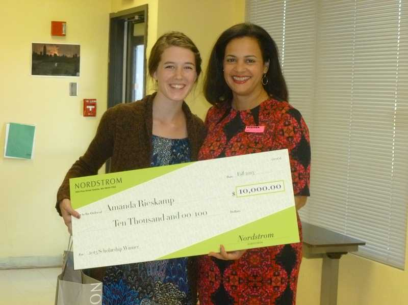 Amanda Rieskamp with Nordstrom scholarship presenter, Ellen Greene