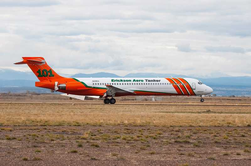 by: TOM BROWN - The first fully outfitted and painted Erickson Aero Tanker MD-87 arrived at the Madras Municipal Airport earlier this month.