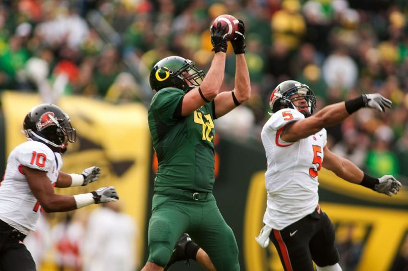 David Paulson was one of two Ducks tight ends to catch a touchdown pass.