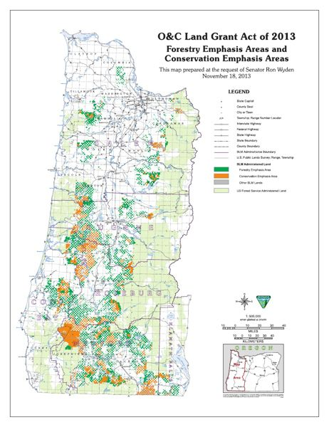 by: COURTESY GRAPHIC FROM SEN. RON WYDENS SENATE WEBSITE - A map of western Oregon's federal timberlands shows which lands would be preserved for conservation (orange) and which would be opened up to logging (dark green) under a new proposal by Sen. Ron Wyden, D-Ore.