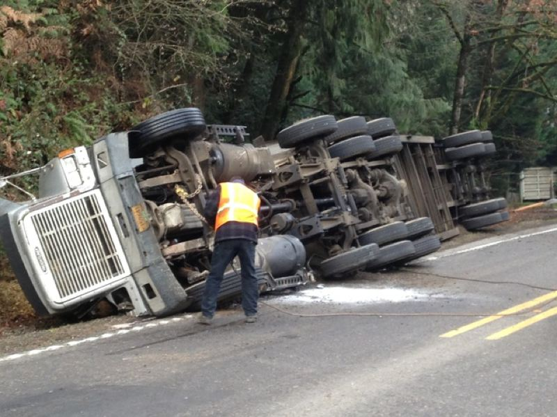 by: KOIN NEWS 6 - Semi-truck Overturned on Cornelius pass Road on Nov. 29.