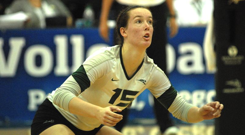 by: PAMPLIN MEDIA GROUP: DAVID BALL - Portland State's Jaklyn Wheeler prepares for a dig during the team's win Friday night.