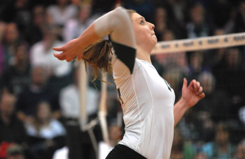 by: PAMPLIN MEDIA GROUP: DAVID BALL - Portland State middle blocker Leigh-Ann Haataja goes up for a swing.