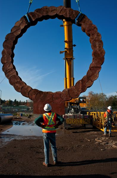 by: PHOTO COURTESY: TRIMET - This is the first of two cast sculptures being installed near the future Southeast Tacoma/Johnson Creek Station.