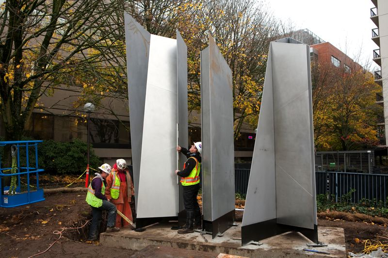 by: PHOTO COURTESY: TRIMET - Mixed-metal sculptures, collectively titled 'Trio,' are installed at the Lincoln St./SW 3rd Ave. Station in downtown Portland.