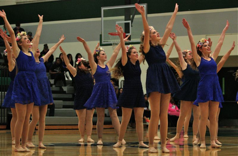 by: PHOTO BY: BRIAN MONIHAN - Oregon City High School's dance team scores second place in the novelty category Nov. 23 at the Reynolds High School Eastside Dance Festival.