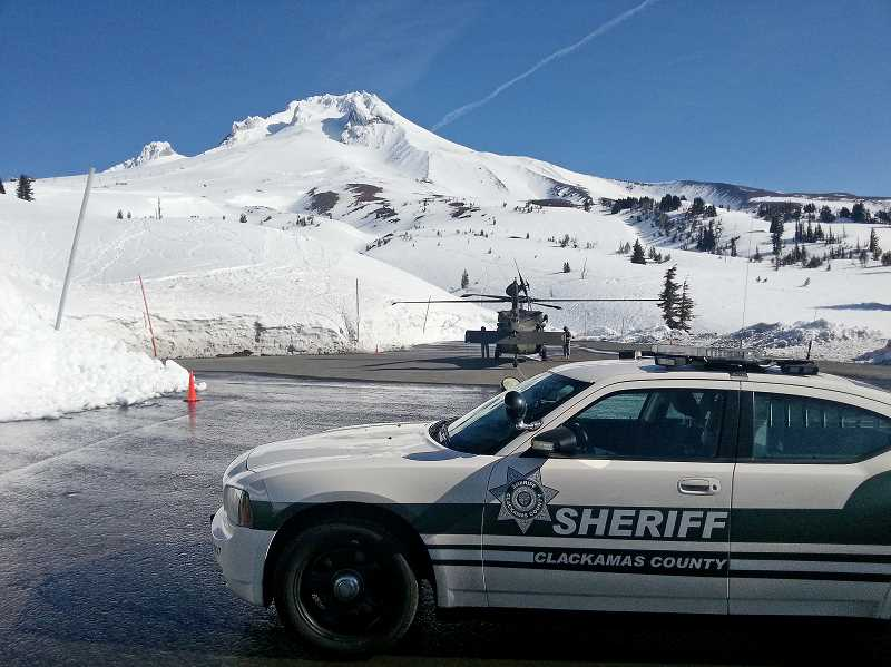 by:  CLACKAMAS COUNTY SHERIFFS OFFICE - A Clackamas County Sheriffs patrol car sits at Timberline Lodge Nov. 27 during the high-altitude rescue of Wilsonville climber John Andrews.
