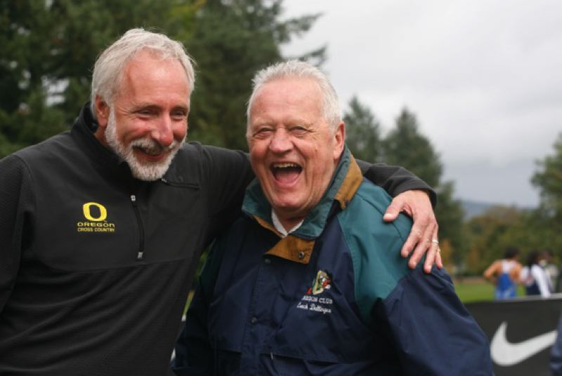 by: COURTESY OF UO ATHLETICS  - Vin Lananna and another former University of Oregon track and field coach, Bill Dellinger, share a laugh at the annual Bill Dellinger Invitational cross-country meet in Springfield.