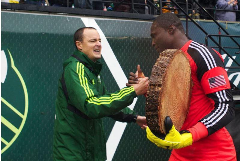 by: TRIBUNE FILE PHOTO: JAIME VALDEZ - After a late-September 1-0 home win over the Los Angeles Galaxy, goalkeeper Donovan Ricketts celebrated with Portland Timbers owner Merritt Paulson.