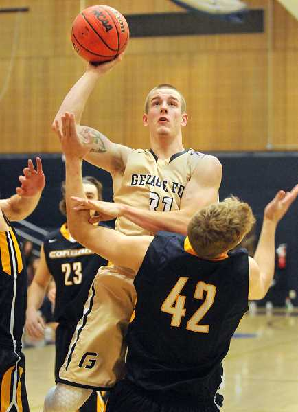by: SETH GORDON - Top scorer - Senior guard Spencer Bolte scored a career-high 27 points in the Bruins' win versus Corban Nov. 26 at Miller Gymnasium.