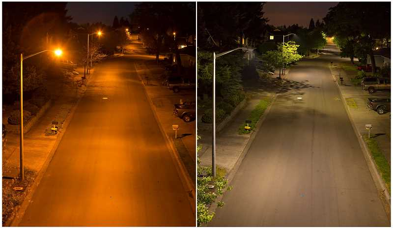 by: SUBMITTED - A before and after shot from Oregon City shows the difference between cobrahead streetlights, on the left, and new LED lights on the right.