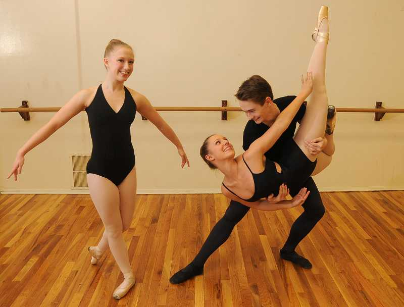 by: REVIEW PHOTO: VERN UYETAKE - Audrey Wells of Lakeridge High, left, and Madeline Robertson of Lake Oswego High have major roles in the upcoming Nutcracker and Holiday Showcase in Lake Oswego. Dancer Jonas Berger also is involved in the show.