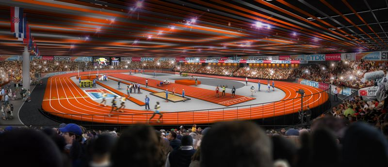 by: COURTESY OF SKYLAB ARCHITECTURE - A vision of the Oregon Convention Center set-up for the 2016 World Indoor track and field championships.