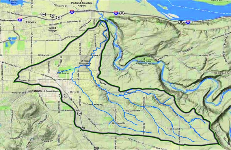 by: EAST MULNOMAH SOIL AND WATER CONSERVATION DISTRICT - Beaver Creek and its three main tributaries start in unincorporated rural areas and flow into Troutdale and eastern Gresham before reaching the Sandy River.