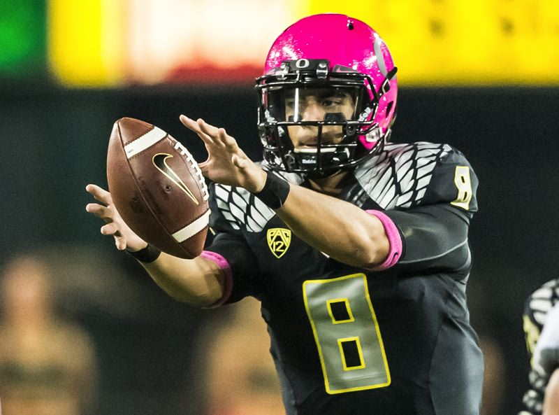 by: COURTESY OF MICHAEL WORKMAN - Oregon quarterback Marcus Mariota and the Ducks are headed to San Antonio to play Texas in the Alamo Bowl on Dec. 30.