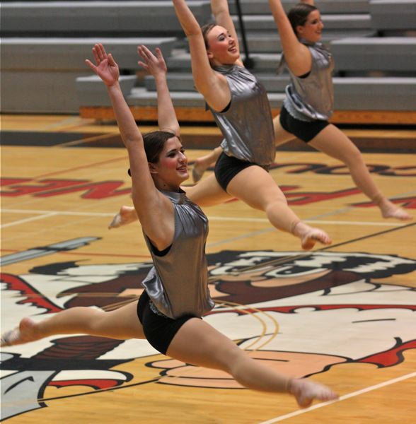 by: PHOTO BY: BRIAN MONIHAN - Clackamas High School's Cavalettes impress judges to get a first-place finish in jazz last Saturday at Oregon City High School.