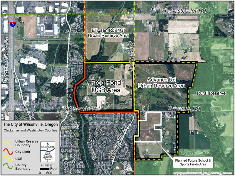 by: MAP COURTESY CITY OF WILSONVILLE - The Frog Pond Planning Area is bordered on the south by Boeckman Creek Road, as shown here on a city map, and on the east by Stafford Road. Current projections suggest nearly 1,000 single-family homes could be built in the 181-acre area.