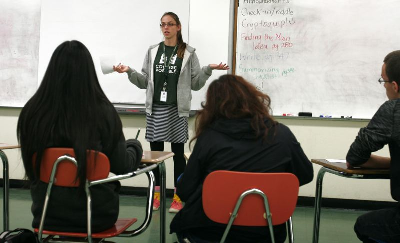 by: OUTLOOK PHOTO: JIM CLARK - A College Possible alumna herself, Ashley Ehlers graduated from Whitman College last spring and became a coach for the region's recently launched program. She works with 30 students in East Multnomah County.
