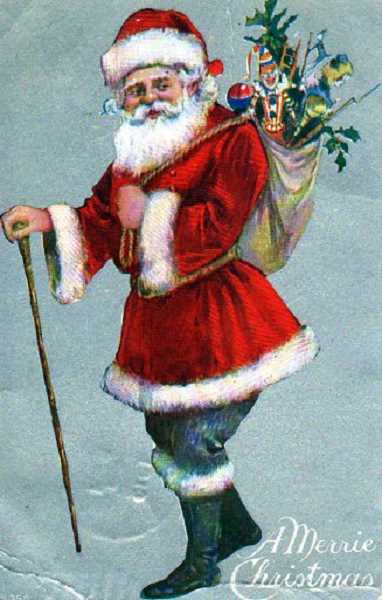 by: SUBMITTED - This turn of the century postcard features Santa looking more fit than in today's images.