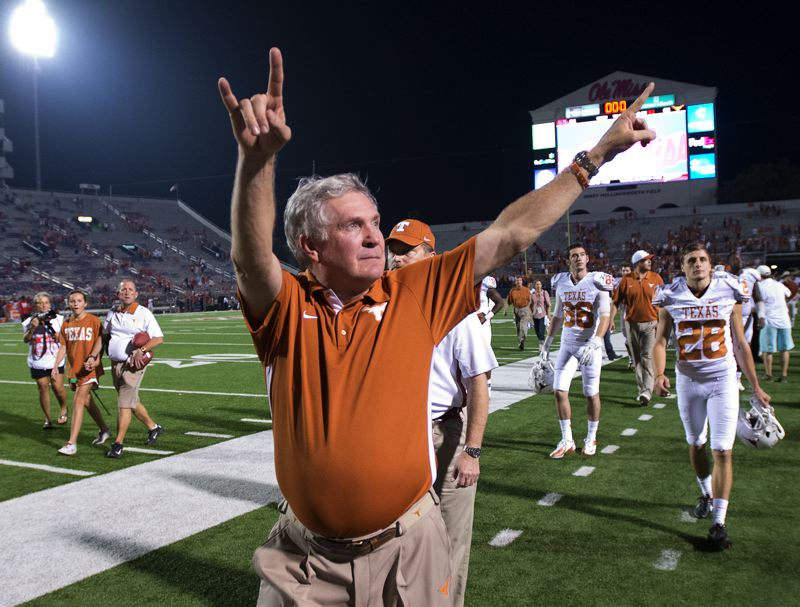 by: COURTESY OF UNIVERSITY OF TEXAS - Veteran coach Mack Brown is out at the University of Texas, which will play the Oregon Ducks in the Dec. 30 Alamo Bowl at San Antonio.