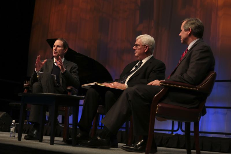 by: TRUBUNE PHOTO: JONATHAN HOUSE - U.S. Sens. Ron Wyden, left, and Jeff Merkley, right, discussed the need for bipartisanship at Mondays Oregon Business Plan Leadership Summit in Portland. They were interviewed by John Carter, chair of the plan and Schnitzer Steel.