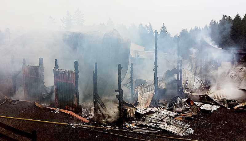 by: WILSONVILLE SPOKESMAN - Beware - A recent fire on Parrett Mountain illustrates how quickly a fire can spread and engulf a home or, in this case, a barn.