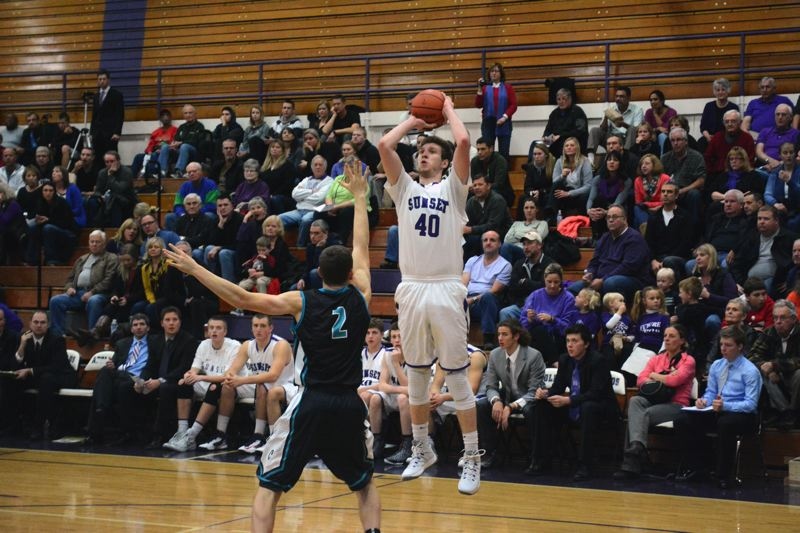 by: TIMES PHOTO: MATT SINGLEDECKER - Sunset center Tyler Gutierrez puts up a baseline jumper of a Century post in the third quarter of the Apollos' win on Friday. The senior big man scored 22 points and grabbed 8 rebounds.