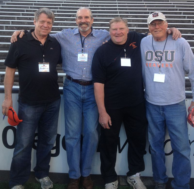 by: COURTESY OF BILLY MAIN - Four first-team All-Americans who played together at Oregon State, (from left) Jon Sandstrom, John Didion, Jess Lewis and Bill Enyart, gathered at OSU's 2013 spring game.