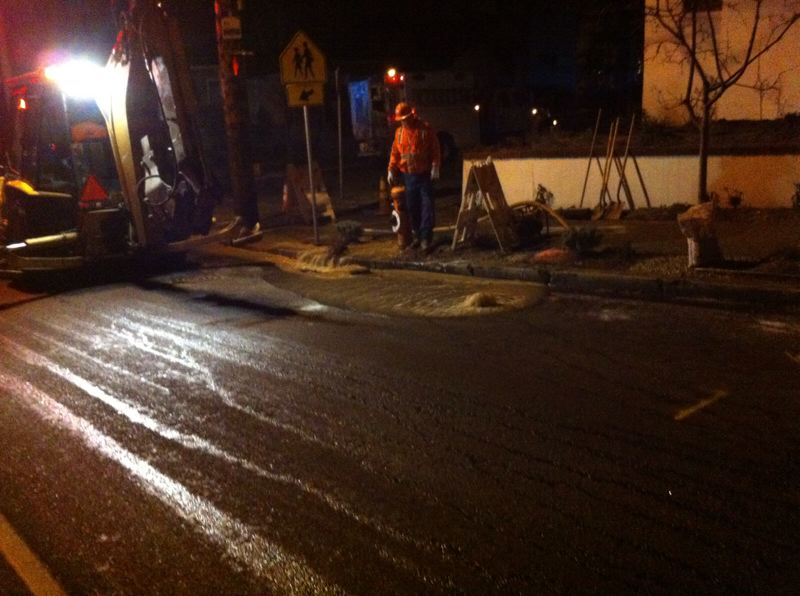 by: SUBMITTED PHOTO: PORTLAND WATER BUREAU - Crews work to repair a broken water main near Ainsworth Elementary School.