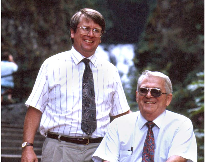 by: ARCHIVE PHOTO - Rick Buck, left, and his father Harold Buck are shown in 1990 following Harold Bucks retirement from running the Multnomah Falls Lodge for many years. Harold Buck died last week at the age of 93.