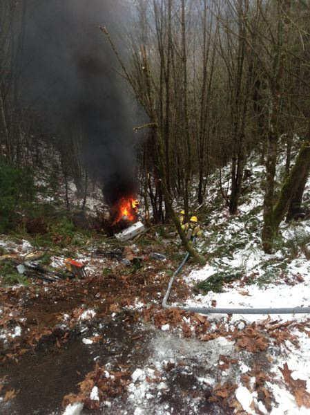by: SUMBITTED PHOTO - Ronda Melton, spokeswoman for the Scappoose Rural Fire District said the truck fell 50 feet from Logie Trail Road before igniting in flames.