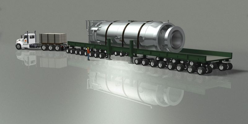 by: COURTESY OF NUSCALE  - A simulated photo shows how a NuScale reactor might be transported by truck.