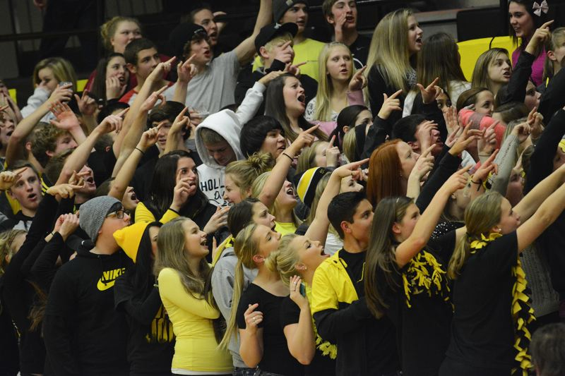 Not to be outdone, the St. Helens students answer back. They've got spirit, yes they do.