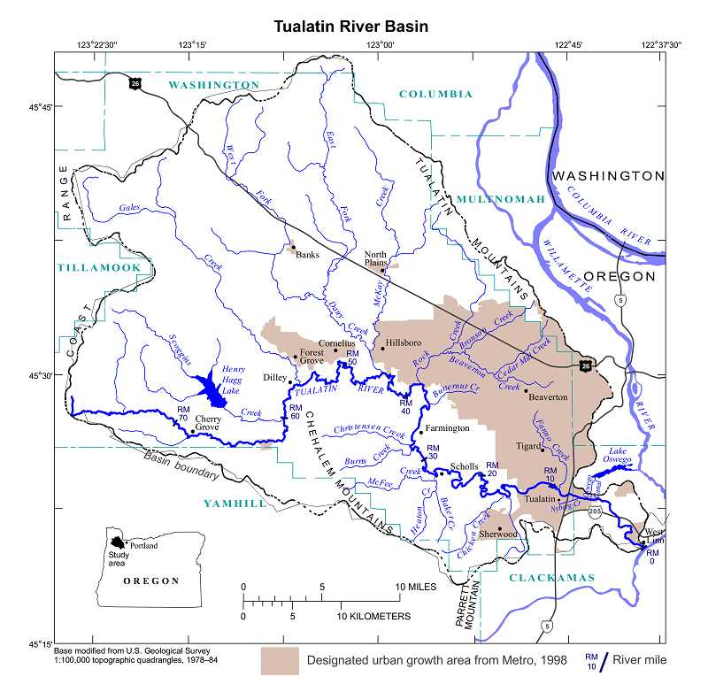 by: SUBMITTED - Scoggins Dam, visible to the left on this map, releases water from Henry Hagg Lake that flows into the Tualatin River and eventually through Lake Oswego and West Linn.