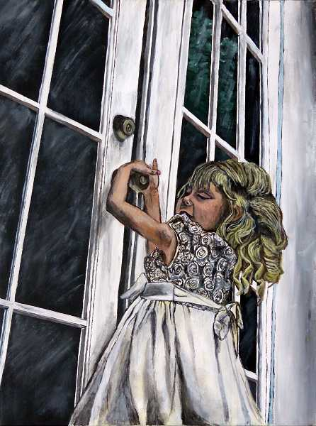 by: SUBMITTED PHOTO - WHS junior Anne-Marie Wieland is displaying her acrylic on canvas painting, titled The Girl at the Door.